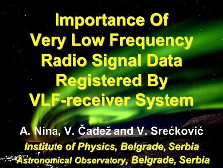 VLF Research in India and setup of AWESOME Receivers - ppt video