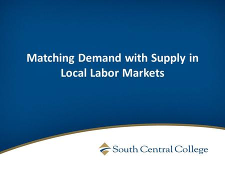 Matching Demand with Supply in Local Labor Markets.