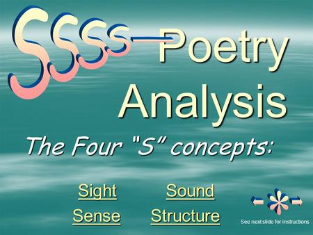 "Poetry Analysis The Four ""S"" concepts: SightSight Sound Sound SightSound SenseSense Structure Structure SenseStructure See next slide for instructions."