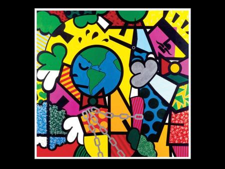 """Cutting Trees"" Romero Britto 1992 Acrylic on canvas Images retrieved Nov. 2011 from www.britto.com."