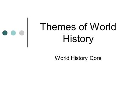 Themes of World History World History Core. GEOGRAPHY 5 Themes of Geography: LOCATION HUMAN AND ENVIRONMENTAL INTERACTION REGION PLACE MOVEMENT.