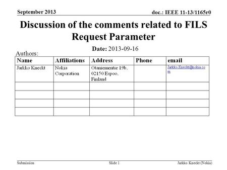 Submission doc.: IEEE 11-13/1165r0 September 2013 Jarkko Kneckt (Nokia)Slide 1 Discussion of the comments related to FILS Request Parameter Date: 2013-09-16.