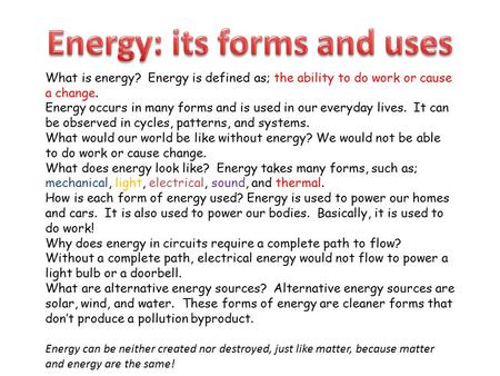 Energy: its forms and uses