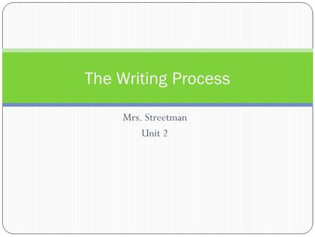 Mrs. Streetman Unit 2 The Writing Process. Prewriting ● Brainstorm- get your ideas out (circle map) ● Organize- choose the ideas you want to write about.