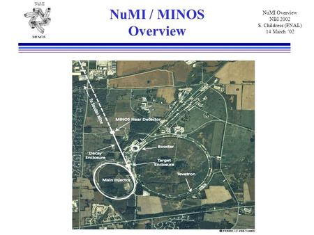 NuMI NuMI Overview NBI 2002 S. Childress (FNAL) 14 March '02 NuMI / MINOS Overview.