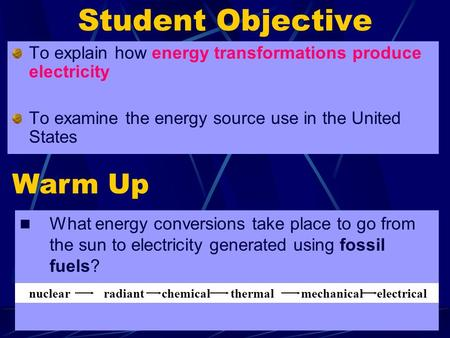 1 Student Objective To explain how energy transformations produce electricity To examine the energy source use in the United States Warm Up What energy.