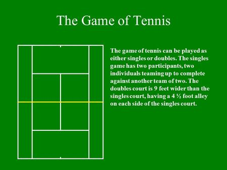 The Game of Tennis The game of tennis can be played as either singles or doubles. The singles game has two participants, two individuals teaming up to.