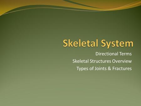 Directional Terms Skeletal Structures Overview Types of Joints & Fractures.
