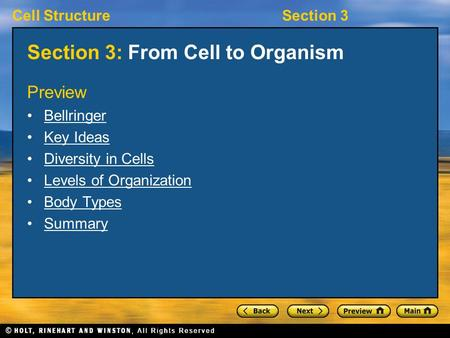 Section 3: From Cell to Organism
