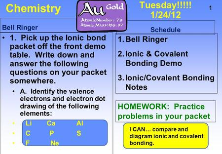Chemistry Tuesday!!!!! 1/24/12 Bell Ringer Schedule
