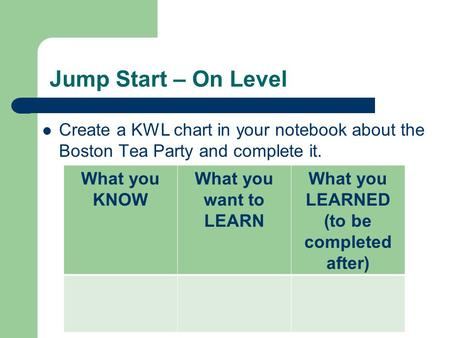 Jump Start – On Level Create a KWL chart in your notebook about the Boston Tea Party and complete it. What you KNOW What you want to LEARN What you LEARNED.