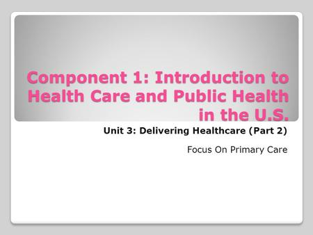 Component 1: Introduction to Health Care and Public Health in the U.S. Unit 3: Delivering Healthcare (Part 2) Focus On Primary Care.