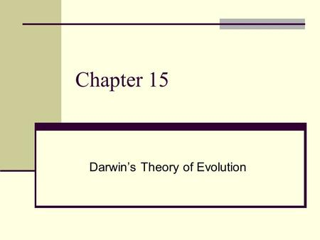 Chapter 15 Darwin's Theory of Evolution. Charles Darwin Born February 12, 1809 – Died April 19, 1882 English Naturalist Sailed the world in 1831 on a.
