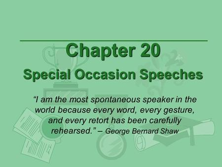Chapter 20 Special Occasion Speeches