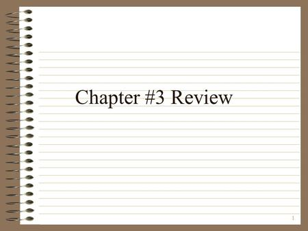 1 Chapter #3 Review. 2 Q: What is the main role of Congress? A: Make Laws.