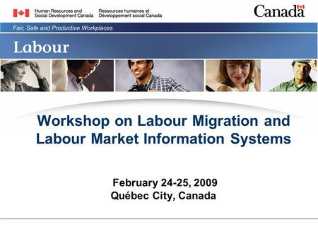 Workshop on Labour Migration and Labour Market Information Systems February 24-25, 2009 Québec City, Canada.