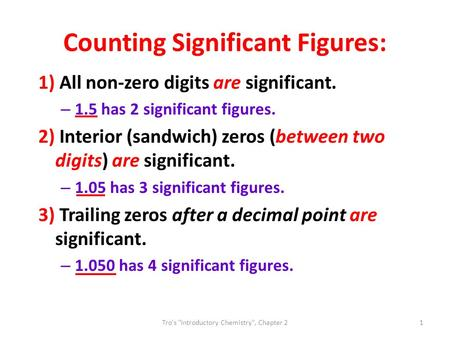 Counting Significant Figures: