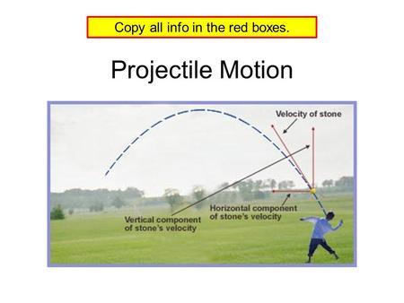 Projectile Motion Copy all info in the red boxes..