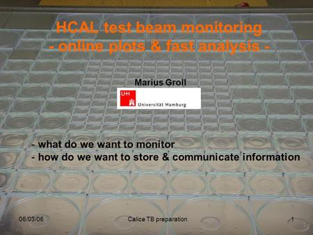 06/03/06Calice TB preparation1 HCAL test beam monitoring - online plots & fast analysis - - what do we want to monitor - how do we want to store & communicate.