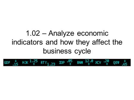 1.02 – Analyze economic indicators and how they affect the business cycle.