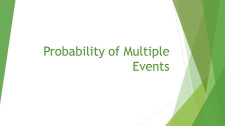 Probability of Multiple Events.  Today's standard: CCSS.MATH.CONTENT.7.PS.8.A Understand that, just as with simple events, the probability of a compound.