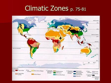 Climatic Zones p. 75-81 P. 75 fig. 5.1.