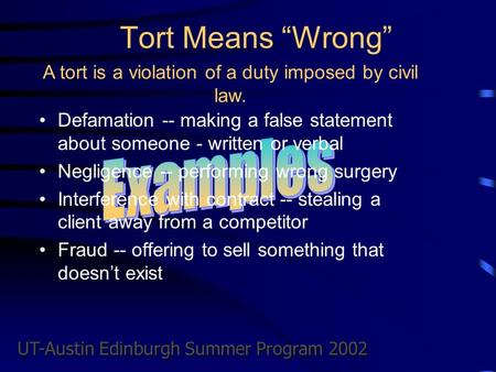 "UT-Austin Edinburgh Summer Program 2002 Tort Means ""Wrong"" Defamation -- making a false statement about someone - written or verbal Negligence -- performing."