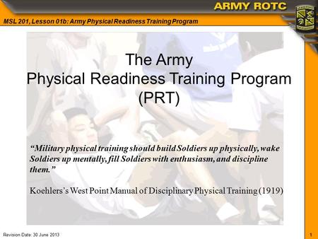 Administration of the APFT and the Physical Fitness