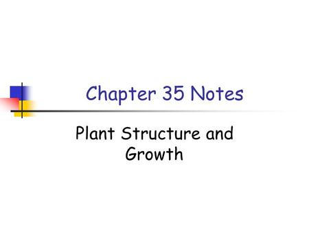 Plant Structure and Growth