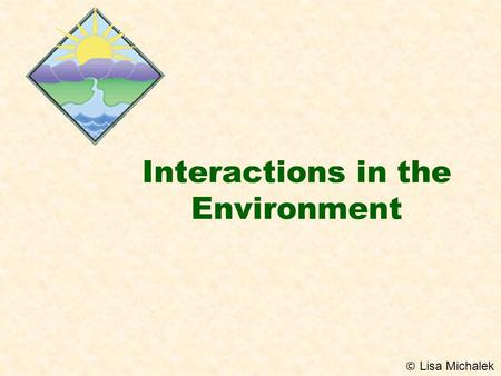 Interactions in the Environment © Lisa Michalek. POPULATIONS & COMMUNITIES  POPULATION –All the organisms of one species that live in one place at a.
