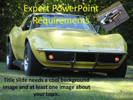 Expert PowerPoint Requirements Title slide needs a cool background image and at least one image about your topic.