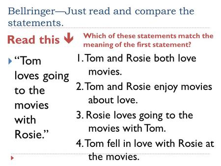 "Bellringer—Just read and compare the statements. Read this  Which of these statements match the meaning of the first statement?  ""Tom loves going to."
