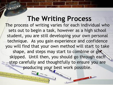 The Writing Process The process of writing varies for each individual who sets out to begin a task, however as a high school student, you are still developing.