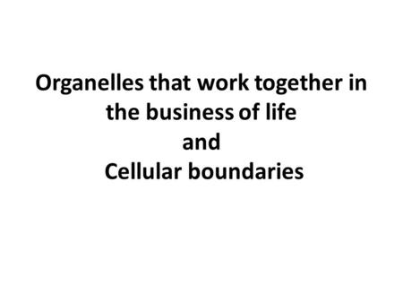 Organelles that work together in the business of life and Cellular boundaries.