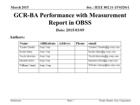Doc.: IEEE 802.11-15/0320r1 Submission March 2015 Yusuke Tanaka, Sony CorporationSlide 1 GCR-BA Performance with Measurement Report in OBSS Date: 2015/03/09.