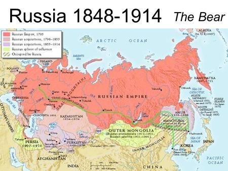 Russia 1848-1914 The Bear. Alexander II Alexander II (1855-1881) Perhaps the most liberal ruler prior to 20 th century Russian conditions –90 % Russians.