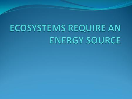 ECOSYSTEMS REQUIRE AN ENERGY SOURCE