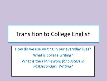 Transition to College English