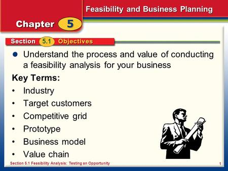 5.1 Understand the process and value of conducting a feasibility analysis for your business Key Terms: Industry Target customers Competitive grid Prototype.