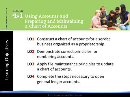 Learning Objectives © 2014 Cengage Learning. All Rights Reserved. LO1Construct a chart of accounts for a service business organized as a proprietorship.