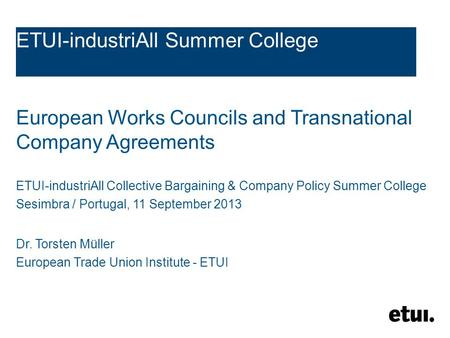 Trends In Collective Bargaining In The Eu Final Conference