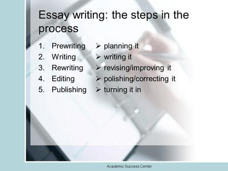 Academic Success Center Essay writing: the steps in the process 1.Prewriting 2.Writing 3.Rewriting 4.Editing 5.Publishing  planning it  writing it 