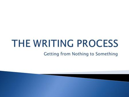 Getting from Nothing to Something.  The 1 st step of the writing process.