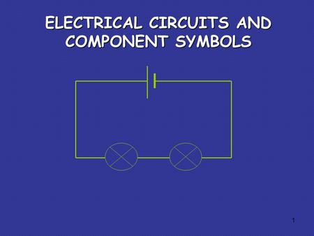 ELECTRICAL CIRCUITS AND COMPONENT SYMBOLS 1. Some circuit symbols In circuit diagrams components are represented by the following symbols; cellbatteryswitchlamp.