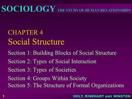 THE STUDY OF HUMAN RELATIONSHIPS SOCIOLOGY HOLT, RINEHART AND WINSTON 1 CHAPTER 4 Social Structure Section 1: Building Blocks of Social Structure Section.