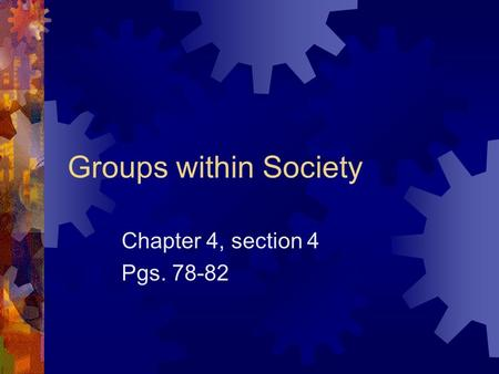 Groups within Society Chapter 4, section 4 Pgs. 78-82.