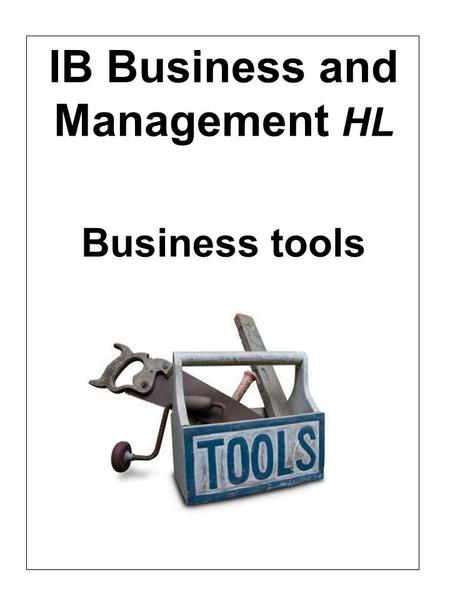 IB Business and Management HL Business tools