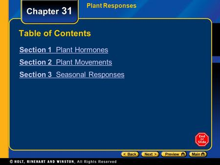 Chapter 31 Table of Contents Section 1 Plant Hormones