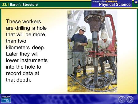 These workers are drilling a hole that will be more than two kilometers deep. Later they will lower instruments into the hole to record data at that depth.