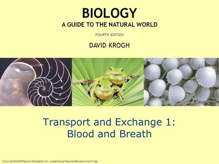 Copyright © 2009 Pearson Education, Inc., publishing as Pearson Benjamin Cummings. BIOLOGY A GUIDE TO THE NATURAL WORLD FOURTH EDITION DAVID KROGH Transport.